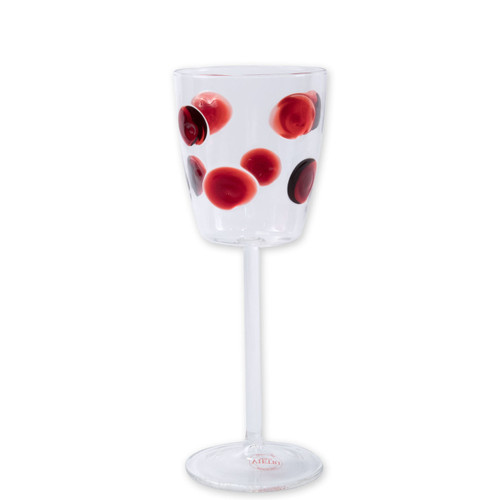 "Vietri Drop Red Wine Glass  DRP-5420R 9.5""H, 11oz  Dress up your daily glass of wine with the Vietri Drop Red Wine Glass from plumpuddingkitchen.com. Intricately mouthblown in Veneto, this beautiful collection brings a playful, chic touch to your favorite barware assortment."