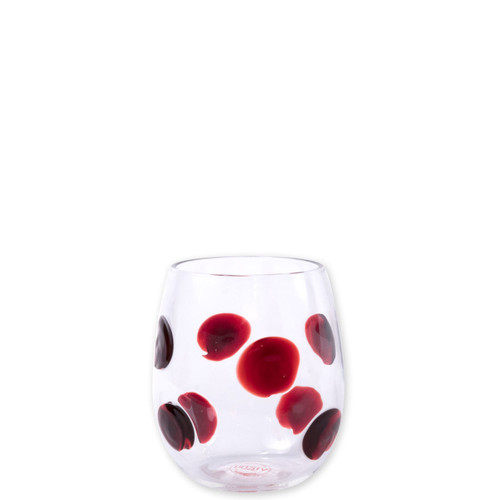 "Vietri Drop Red Stemless Wine Glass  DRP-5421R 4""H, 10oz  Dress up your daily glass of wine with the Vietri Drop Red stemless wine Glass from plumpuddingkitchen.com. Intricately mouthblown in Veneto, this beautiful collection brings a playful, chic touch to your favorite barware assortment."