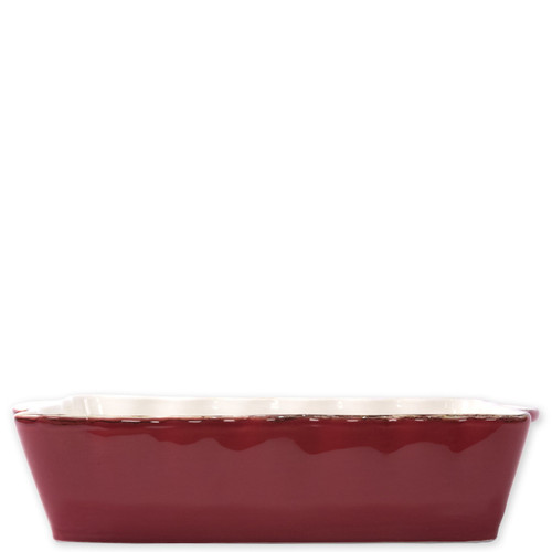 "Vietri Red Large Rectangular Italian Baker  ITB-R2953 15.25""L, 9.75""W, 4.5 Quarts  Vietri's Italian Bakers from plumpuddingkitchen.com are designed for everyday use and represent the traditional Italian table with scalloped edges and fun pops of color for the holidays.   Handcrafted of Italian stoneware in Umbria."