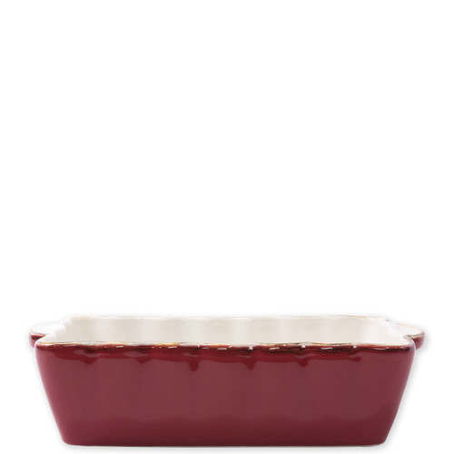 "Vietri Red Small  Rectangular Italian Baker  ITB-G2954 9.75""L, 5.75""W, 1 Quart  Vietri's Italian Bakers from plumpuddingkitchen.com are designed for everyday use and represent the traditional Italian table with scalloped edges and fun pops of color for the holidays.   Handcrafted of Italian stoneware in Umbria."