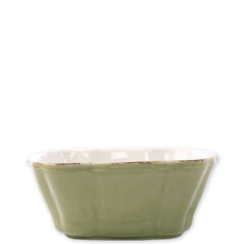 "Vietri Green Small Square Italian Baker  ITB-G2957 7.5""L, 6.25""W,  .75 Quart  Vietri's Italian Bakers from plumpuddingkitchen.com are designed for everyday use and represent the traditional Italian table with scalloped edges and fun pops of color for the holidays.   Handcrafted of Italian stoneware in Umbria.   Dishwasher, microwave, freezer, and oven safe."