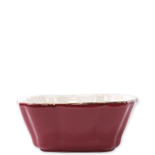 "Vietri Red Small Square Italian Baker  ITB-R2957 7.5""L, 6.25""W,  .75 Quart  Vietri's Italian Bakers from plumpuddingkitchen.com are designed for everyday use and represent the traditional Italian table with scalloped edges and fun pops of color for the holidays.   Handcrafted of Italian stoneware in Umbria."