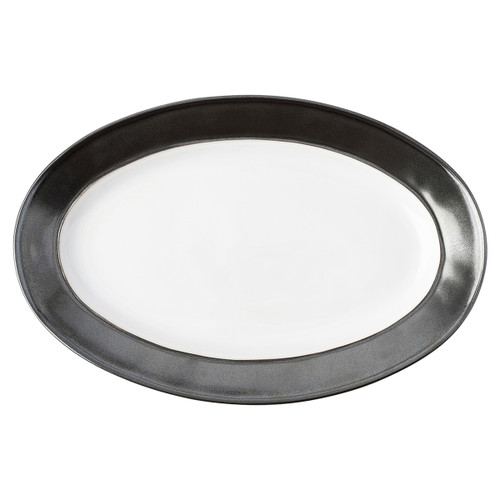 "Emerson White/Pewter Platter  KP55/92 15""L, 9.5""W From Juliska's Emerson Collection - Our handsome and infinitely versatile Emerson pieces from plumpuddingkitchen.com are rimmed in our burnished Pewter hue. Stunning mixed into any table setting for a bit of shine, be it a romantic Summer tea amid the roses or a sparkling candlelit soiree.  Made of ceramic stoneware in Portugal.  Oven, microwave, dishwasher and freezer safe."
