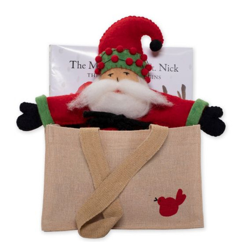 Old St Nick:  The Adventure Begins Gift Set OSN-37001-D  The Old St. Nick The Magic of Old St. Nick: The Adventure Begins Gift Set from plumpuddingkitchen.com includes VIETRI's first hardback children's book with an adorable wool Old St. Nick Doll and a canvas tote stamped with his magical red bird.