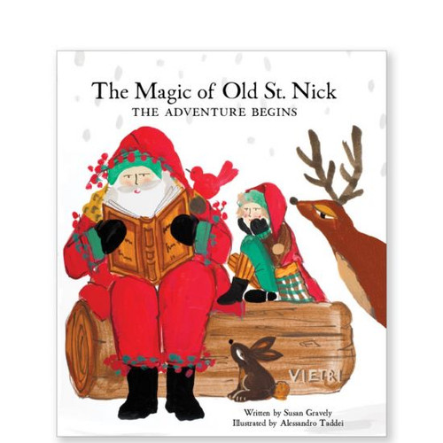 Old St Nick:  The Adventure Begins Book OSN-37001  The Magic of Old St. Nick: The Adventure Begins from plumpuddingkitchen.com depicts a charming tale of Babbo Natale, Italy's Santa Claus, and his beloved son, Nick. Enjoy as father and son share life lessons and pay tribute to a special red bird throughout the Old St. Nick The Magic of Old St. Nick: The Adventure Begins Book.