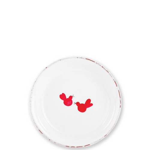 "Old St Nick Ti Penso Small Plate with Red Birds  OSN-2670-GB 6.25"" Diameter  When you see a red bird, know a loved one is near. Ti penso, meaning ""Thinking of you,"" symbolic on the Old St. Nick Ti Penso Plate from plumpuddingkitchen.com, is a gentle reminder that our loved ones are watching over us."