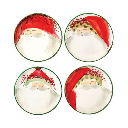 "Old St Nick Assorted Canape Plates Set/4  OSN-7819 6.75""D The Old St. Nick Assorted Canape Plates feature the handpainted designs of maestro artisan Alessandro Taddei."