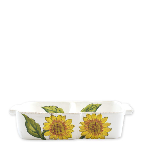 """Lastra Sunflower Two-Part Server  LSF-2635 10.5""""L, 5.5""""W  The simple sophistication of Vietri's Lastra endures with Lastra Sunflower from plumpuddingkitchen.com. Bringing the joy of Italian girasole (sunflower) to your table, this collection features bright yellow and vibrant greens, detailing the beauty of this handpainted collection.  Handpainted on Italian stoneware in Tuscany. Dishwasher, microwave, freezer and oven safe."""