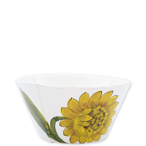 "Lastra Sunflower Medium Stacking Serving Bowl  LSF-26021 8""D, 4""H  The simple sophistication of Vietri's Lastra endures with Lastra Sunflower from plumpuddingkitchen.com. Bringing the joy of Italian girasole (sunflower) to your table, this collection features bright yellow and vibrant greens, detailing the beauty of this handpainted collection.  Handpainted on Italian stoneware in Tuscany. Dishwasher, microwave, freezer and oven safe."