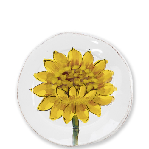 "Lastra Sunflower Canape Plate  LSF-2670 6.25""D  The simple sophistication of Vietri's Lastra endures with Lastra Sunflower from plumpuddingkitchen.com. Bringing the joy of Italian girasole (sunflower) to your table, this collection features bright yellow and vibrant greens, detailing the beauty of this handpainted collection.  Handpainted on Italian stoneware in Tuscany. Dishwasher, microwave, freezer and oven safe."