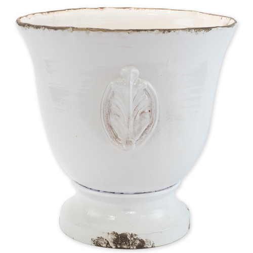 "Rustic Garden White Large Footed Planter w/ Emblem  RGA-89094W 17.75""D, 18""H  Inspired by the Italians' love for the outdoors and urn designs from the antiquity, Vietri's Rustic Garden planters from plumpuddingkitchen.com are a beautiful accent to any indoor or outdoor space."