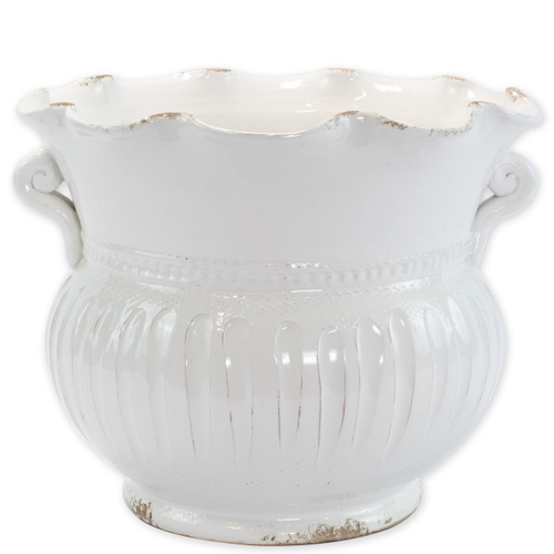 "Rustic Garden White Large Scallop Planter  RGA-89095W 15""D, 12.25""H  Inspired by the Italians' love for the outdoors and urn designs from the antiquity, Vietri's Rustic Garden planters from plumpuddingkitchen.com are a beautiful accent to any indoor or outdoor space."