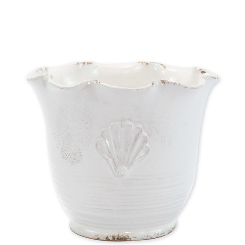 "Rustic Garden White Small Scallop Planter w/ Emblem  RGA-89098W 11""D, 9""H  Inspired by the Italians' love for the outdoors and urn designs from the antiquity, Vietri's Rustic Garden planters from plumpuddingkitchen.com are a beautiful accent to any indoor or outdoor space."
