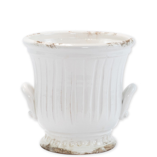 "Rustic Garden White Medium Handled Cachepot  RGA-89089W 9""D, 9""H  Inspired by the Italians' love for the outdoors and urn designs from the antiquity, Vietri's Rustic Garden planters from plumpuddingkitchen.com are a beautiful accent to any indoor or outdoor space."