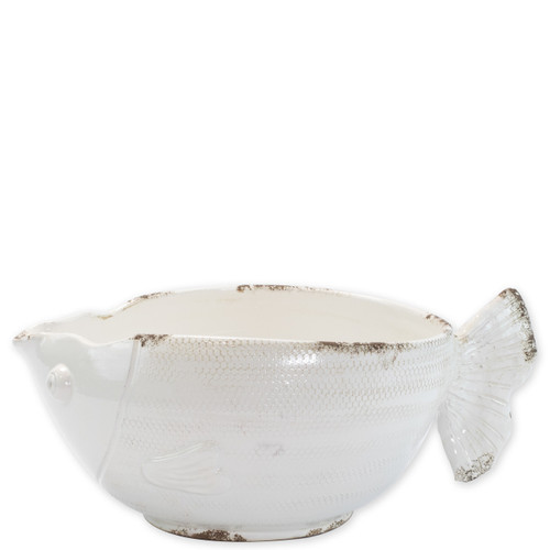 """Rustic Garden White Fish Cachepot  RGA-89090W 17.75""""L, 10.5""""W, 8.75""""H  Inspired by the Italians' love for the outdoors and urn designs from the antiquity, Vietri's Rustic Garden planters from plumpuddingkitchen.com are a beautiful accent to any indoor or outdoor space."""