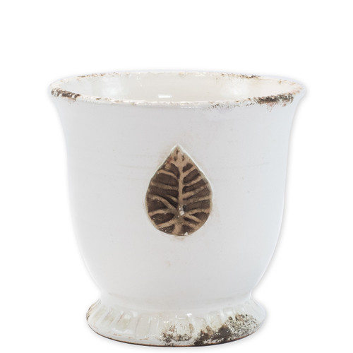 "Rustic Garden White Medium Cachepot w/ Leaf  RGA-89088W 9""D, 8.75""H  Inspired by the Italians' love for the outdoors and urn designs from the antiquity, Vietri's Rustic Garden planters from plumpuddingkitchen.com are a beautiful accent to any indoor or outdoor space."