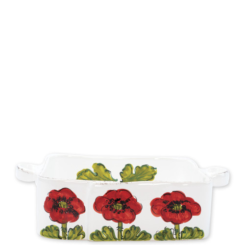 "Lastra Poppy Square Baker  LPY-2657 11.5""L, 8.5""W, 3""H  The simple sophistication of Vietri's Lastra endures with Lastra Poppy. Bringing the warmth of a Tuscan summer to your table, this collection features bright pops of red and vibrant greens, detailing the beauty of this handpainted collection with authentically Italian appeal.    Handpainted on Italian stoneware in Tuscany. Dishwasher, microwave, freezer, and oven safe."
