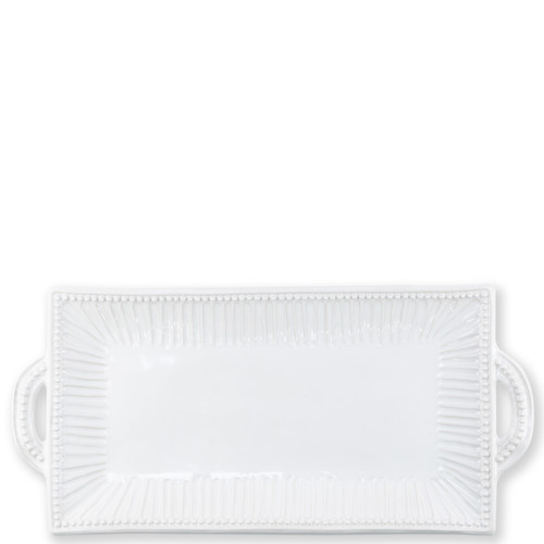 """Vietri Incanto Stone White Stripe Rectangular Handled Platter  SINC-W1123 20""""L, 9.5""""W  Classic and enchanting, the beautiful designs of VIETRI's beloved Incanto collection from plumpuddingkitchen.com evolve in a new, durable stoneware."""