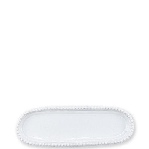 "Vietri Incanto Stone White Stripe Small Oval Tray  SINC-W1190 10.25""L, 3.5""W  Classic and enchanting, the beautiful designs of VIETRI's beloved Incanto collection from plumpuddingkitchen.com evolve in a new, durable stoneware."