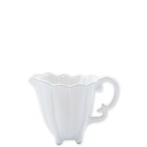 """Vietri Incanto Stone White Scallop Creamer  SINC-W1113 4.5""""H, 11oz  Classic and enchanting, the beautiful designs of VIETRI's beloved Incanto collection from plumpuddingkitchen.com evolve in a new, durable stoneware."""