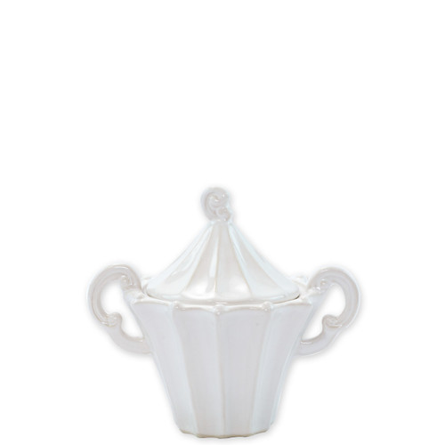 "Vietri Incanto Stone White Stripe Sugar  SINC-W1112 5.75""H Classic and enchanting, the beautiful designs of VIETRI's beloved Incanto collection from plumpuddingkitchen.com evolve in a new, durable stoneware."