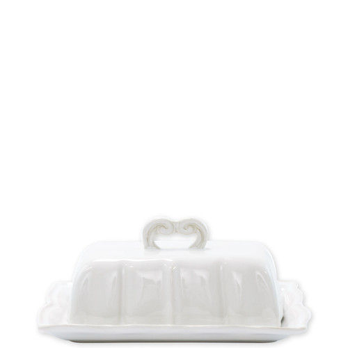"Vietri Incanto Stone White Baroque Butter Dish  SINC-W1107 7.5""L, 4.5""W, 3.5""H  Classic and enchanting, the beautiful designs of VIETRI's beloved Incanto collection from plumpuddingkitchen.com evolve in a new, durable stoneware."