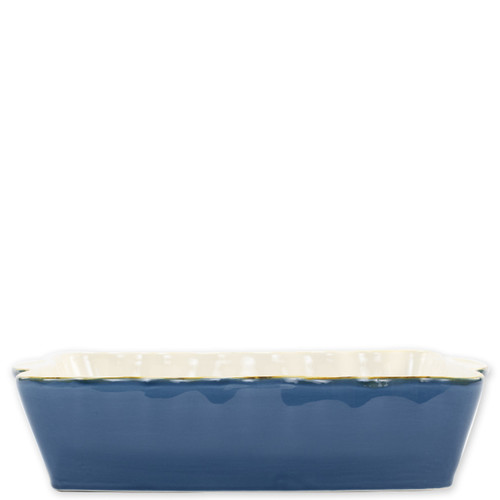 "Vietri Blue Large Rectangular Italian Baker  ITB-GB953 15.25""L, 9.75""W, 4.5 Quarts  Vietri's Italian Bakers from plumpuddingkitchen.com are designed for everyday use and represent the traditional Italian table with scalloped edges and fun pops of color.  Handcrafted of Italian stoneware in Umbria.   Dishwasher, microwave, freezer, and oven safe."