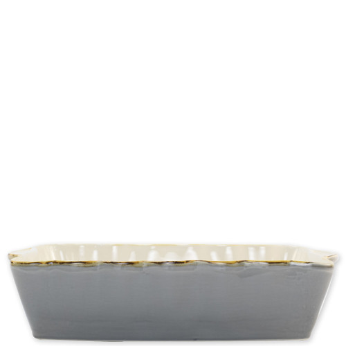 """Vietri Gray Large Rectangular Italian Baker  ITB-GR953 15.25""""L, 9.75""""W, 4.5 Quarts  Vietri's Italian Bakers from plumpuddingkitchen.com are designed for everyday use and represent the traditional Italian table with scalloped edges and fun pops of color.  Handcrafted of Italian stoneware in Umbria.   Dishwasher, microwave, freezer, and oven safe."""