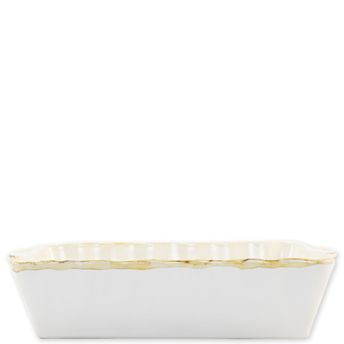 "Vietri White Large Rectangular Italian Baker  ITB-W953 15.25""L, 9.75""W, 4.5 Quarts  Vietri's Italian Bakers from plumpuddingkitchen.com are designed for everyday use and represent the traditional Italian table with scalloped edges and fun pops of color.  Handcrafted of Italian stoneware in Umbria.   Dishwasher, microwave, freezer, and oven safe."