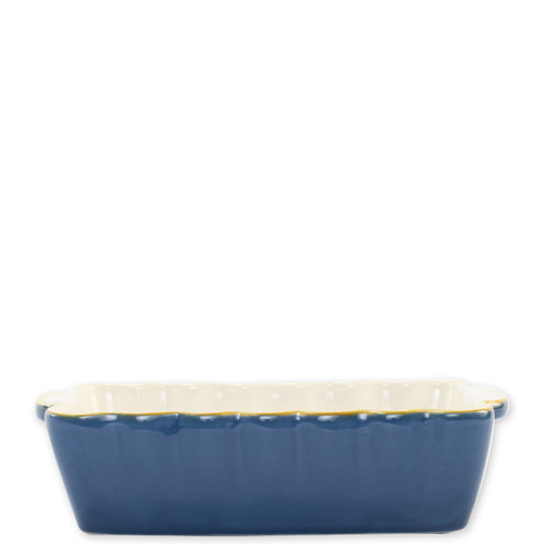 "Vietri Blue Small Rectangular Italian Baker  ITB-B2954 9.75""L, 5.75""W, 1 Quart  Vietri's Italian Bakers from plumpuddingkitchen.com are designed for everyday use and represent the traditional Italian table with scalloped edges and fun pops of color.  Handcrafted of Italian stoneware in Umbria.   Dishwasher, microwave, freezer, and oven safe."