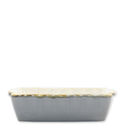"""Vietri Gray Small Rectangular Italian Baker  ITB-GR2954 9.75""""L, 5.75""""W, 1 Quart  Vietri's Italian Bakers from plumpuddingkitchen.com are designed for everyday use and represent the traditional Italian table with scalloped edges and fun pops of color.  Handcrafted of Italian stoneware in Umbria.   Dishwasher, microwave, freezer, and oven safe."""