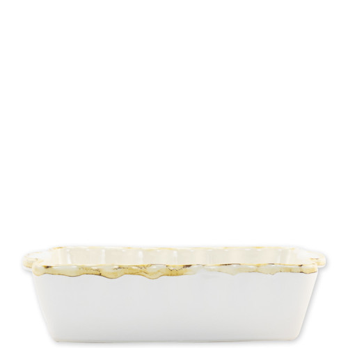 """Vietri White Small Rectangular Italian Baker  ITB-W2954 9.75""""L, 5.75""""W, 1 Quart  Vietri's Italian Bakers from plumpuddingkitchen.com are designed for everyday use and represent the traditional Italian table with scalloped edges and fun pops of color.  Handcrafted of Italian stoneware in Umbria.   Dishwasher, microwave, freezer, and oven safe."""