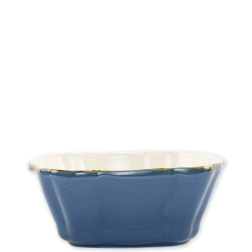 """Vietri Blue Small Square Italian Baker  ITB-B2957 7.5""""L, 6.25""""W, .75 Quart  Vietri's Italian Bakers from plumpuddingkitchen.com are designed for everyday use and represent the traditional Italian table with scalloped edges and fun pops of color.  Handcrafted of Italian stoneware in Umbria.   Dishwasher, microwave, freezer, and oven safe."""