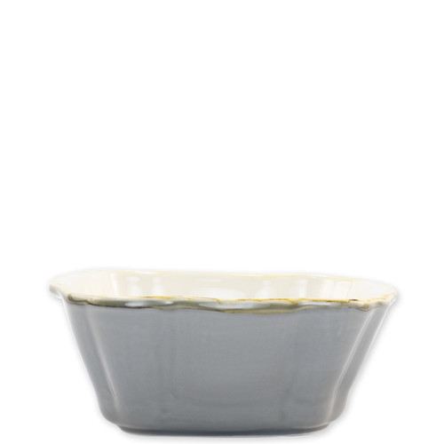 """Vietri Gray Small Square Italian Baker  ITB-GR2957 7.5""""L, 6.25""""W, .75 Quart  Vietri's Italian Bakers from plumpuddingkitchen.com are designed for everyday use and represent the traditional Italian table with scalloped edges and fun pops of color.  Handcrafted of Italian stoneware in Umbria.   Dishwasher, microwave, freezer, and oven safe."""