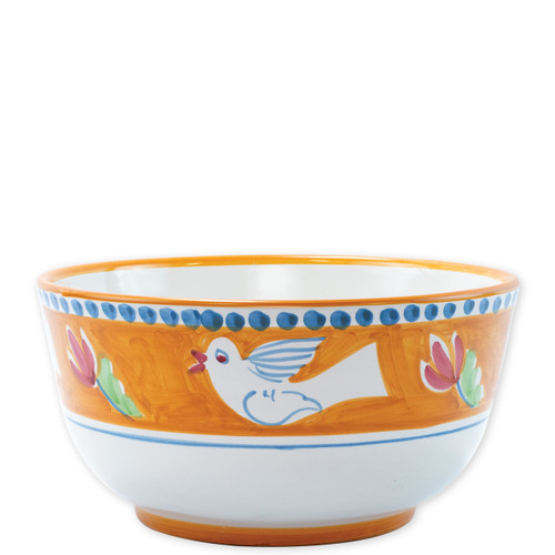 """Vietri Campagna Uccello Deep Serving Bowl  UCC-1042 10.25""""D, 5.25""""H  The colorful orange and blue Campagna Uccello from plumpuddingkitchen.com features whimsical handpainted birds and flowers. Mix with other animals from the Campagna collection to create a fun table that captures the vitality of the Italian countryside!"""