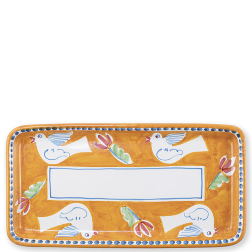 "Vietri Campagna Uccello Rectangular Platter   UCC-1041 15.5L, 8""W   The colorful orange and blue Campagna Uccello from plumpuddingkitchen.com features whimsical handpainted birds and flowers. Mix with other animals from the Campagna collection to create a fun table that captures the vitality of the Italian countryside!"