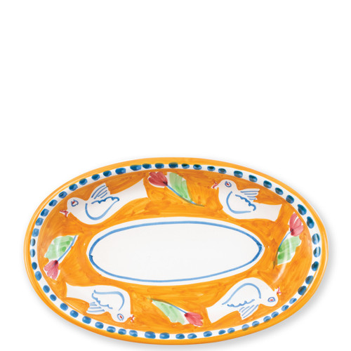 "Vietri Campagna Uccello Small Oval Tray   UCC-1040 10L, 6.5""W   The colorful orange and blue Campagna Uccello from plumpuddingkitchen.com features whimsical handpainted birds and flowers. Mix with other animals from the Campagna collection to create a fun table that captures the vitality of the Italian countryside!"