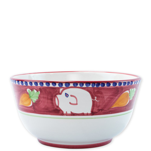 "Vietri Campagna Porco Deep Serving Bowl   POR-1042 10.25""D, 5.25""H   The colorful red and orange Campagna Porco from plumpuddingkitchen.com features whimsical handpainted pigs and carrots.. Mix with other animals from the Campagna collection to create a fun table that captures the vitality of the Italian countryside!"