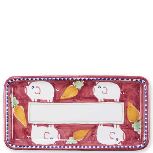 "Vietri Campagna Porco Rectangular Platter   POR-1044N 15.5L, 8""W   The colorful red and orange Campagna Porco from plumpuddingkitchen.com features whimsical handpainted pigs and carrots.. Mix with other animals from the Campagna collection to create a fun table that captures the vitality of the Italian countryside!"