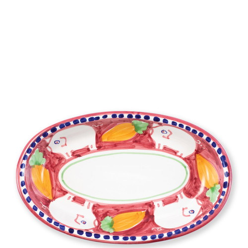 """Vietri Campagna Porco Small Oval Tray   POR-1040N 10""""L, 6.5""""W   The colorful red and orange Campagna Porco from plumpuddingkitchen.com features whimsical handpainted pigs and carrots.. Mix with other animals from the Campagna collection to create a fun table that captures the vitality of the Italian countryside!"""