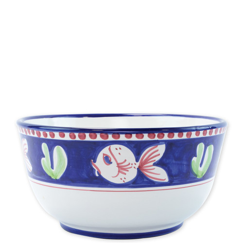 "Vietri Campagna Pesce Deep Serving Bowl   PES-1042 10.25""D, 5.25""H   The colorful blue and red Campagna Pesce from plumpuddingkitchen.com features whimsical handpainted fish swimming among green algae.  Mix with other animals from the Campagna collection to create a fun table that captures the vitality of the Italian countryside!"