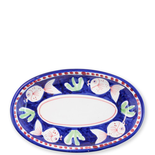 "Vietri Campagna Pesce Oval Tray   PES-1040N 10L, 6.5""W   The colorful blue and red Campagna Pesce from plumpuddingkitchen.com features whimsical handpainted fish swimming among green algae.  Mix with other animals from the Campagna collection to create a fun table that captures the vitality of the Italian countryside!"