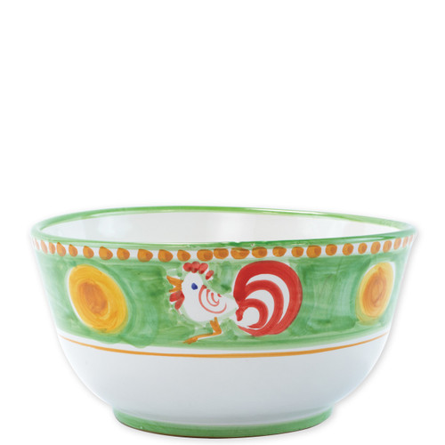 """Vietri Campagna Gallina Deep Serving Bowl   GNA-1042 10.25""""D, 5.25""""H  Part of Vietri's premiere dinnerware line from the famed Amalfi Coast, Gallina from plumpuddingkitchen.com offers endless possibilities for artistic entertaining when mixed with bright solids or the other colorful patterns of Campagna. Capture the vitality of the Italian countryside with this whimsical collection!  Translation: rooster Handmade of terra cotta in Campania Part of the Campagna Collection, VIETRI's very first dinnerware collection introduced in 1983! Dishwasher and microwave safe"""