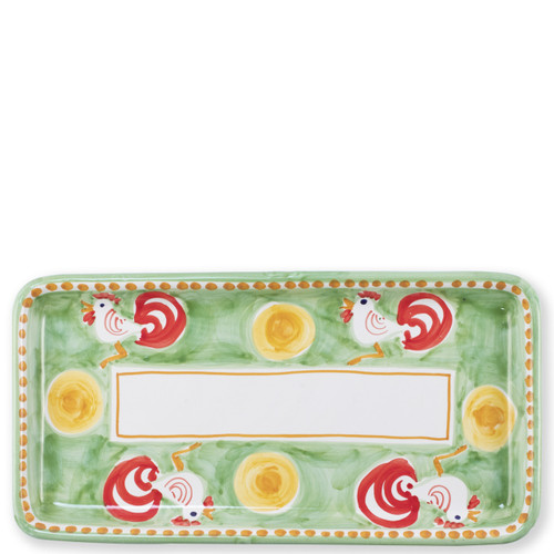 """Vietri Campagna Gallina Rectangular Platter   GNA-1041 15.5""""L, 8""""W Part of Vietri's premiere dinnerware line from the famed Amalfi Coast, Gallina from plumpuddingkitchen.com offers endless possibilities for artistic entertaining when mixed with bright solids or the other colorful patterns of Campagna. Capture the vitality of the Italian countryside with this whimsical collection!  Translation: rooster Handmade of terra cotta in Campania Part of the Campagna Collection, VIETRI's very first dinnerware collection introduced in 1983! Dishwasher and microwave safe"""