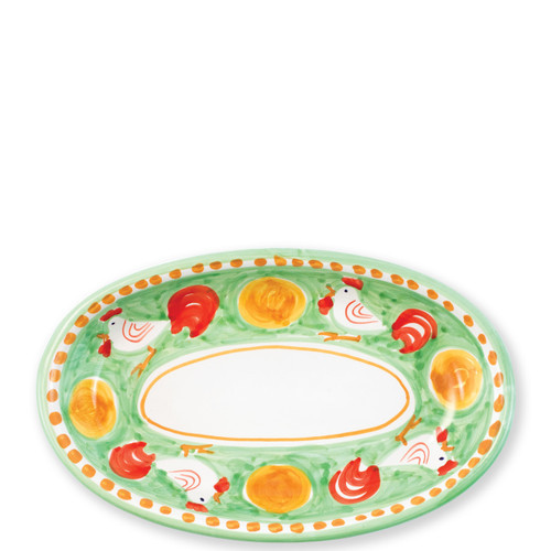 """Vietri Campagna Gallina Small Oval Tray   GNA-1040 10""""L, 6.5""""W Part of Vietri's premiere dinnerware line from the famed Amalfi Coast, Gallina from plumpuddingkitchen.com offers endless possibilities for artistic entertaining when mixed with bright solids or the other colorful patterns of Campagna. Capture the vitality of the Italian countryside with this whimsical collection!  Translation: rooster Handmade of terra cotta in Campania Part of the Campagna Collection, VIETRI's very first dinnerware collection introduced in 1983! Dishwasher and microwave safe"""