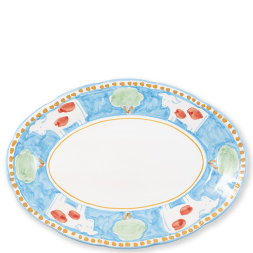 "Vietri Campagna Mucca Oval Platter  MCA-1022 16""L, 11.5""W  Part of Vietri's premiere dinnerware line from the famed Amalfi Coast, Mucca from plumpuddingkitchen.com offers endless possibilities for artistic entertaining when mixed with bright solids or the other colorful patterns of Campagna. Capture the vitality of the Italian countryside with this whimsical collection!  Translation: cow Handmade of terra cotta in Campania by Solimene Part of the Campagna Collection, VIETRI's very first dinnerware collection introduced in 1983! Dishwasher and microwave safe"