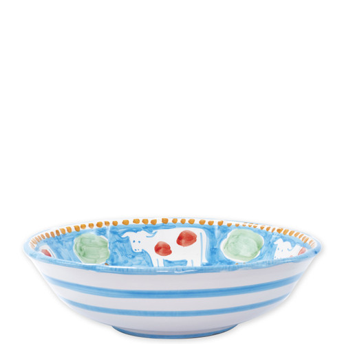 "Vietri Campagna Mucca Large Serving Bowl  MCA-1025 12""D  Part of Vietri's premiere dinnerware line from the famed Amalfi Coast, Mucca from plumpuddingkitchen.com offers endless possibilities for artistic entertaining when mixed with bright solids or the other colorful patterns of Campagna. Capture the vitality of the Italian countryside with this whimsical collection!  Translation: cow Handmade of terra cotta in Campania by Solimene Part of the Campagna Collection, VIETRI's very first dinnerware collection introduced in 1983! Dishwasher and microwave safe"