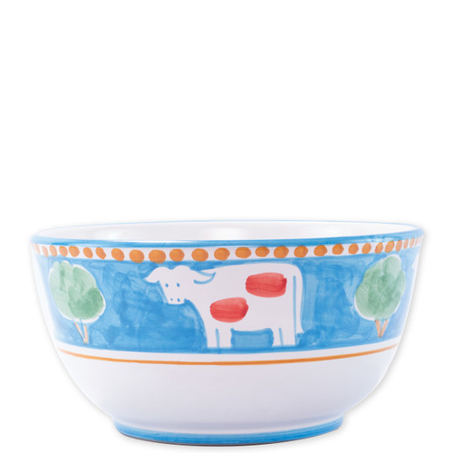"""Vietri Campagna Mucca Deep Serving Bowl  MCA-1042 10.25""""D, 5.25""""H  Part of Vietri's premiere dinnerware line from the famed Amalfi Coast, Mucca from plumpuddingkitchen.com offers endless possibilities for artistic entertaining when mixed with bright solids or the other colorful patterns of Campagna. Capture the vitality of the Italian countryside with this whimsical collection!  Translation: cow Handmade of terra cotta in Campania by Solimene Part of the Campagna Collection, VIETRI's very first dinnerware collection introduced in 1983! Dishwasher and microwave safe"""
