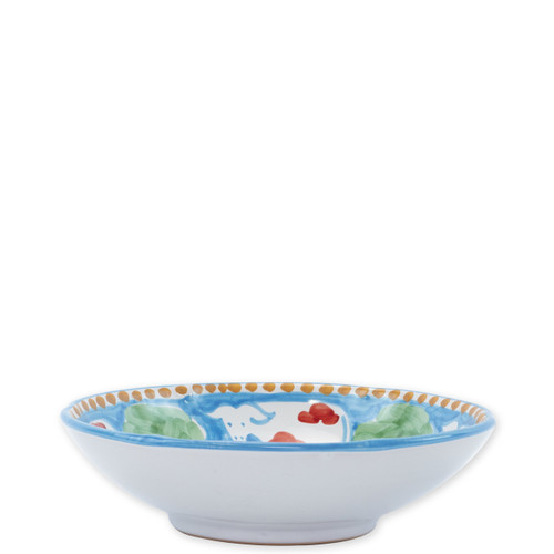 """Vietri Campagna Mucca Coupe Pasta Bowl  MCA-1003 8.75""""D  Part of Vietri's premiere dinnerware line from the famed Amalfi Coast, Mucca from plumpuddingkitchen.com offers endless possibilities for artistic entertaining when mixed with bright solids or the other colorful patterns of Campagna. Capture the vitality of the Italian countryside with this whimsical collection!  Translation: cow Handmade of terra cotta in Campania by Solimene Part of the Campagna Collection, VIETRI's very first dinnerware collection introduced in 1983! Dishwasher and microwave safe"""