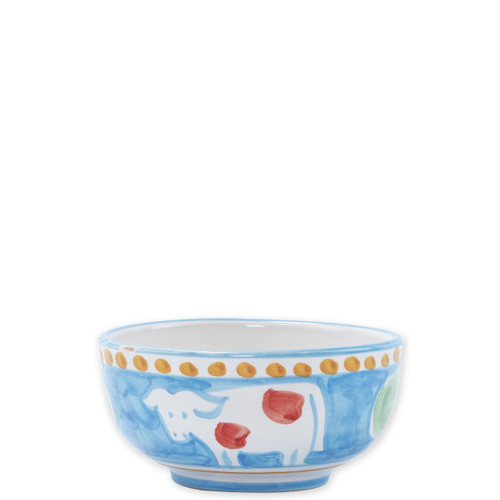 "Vietri Campagna Mucca Cereal Bowl  MCA-1005 5""D  Part of Vietri's premiere dinnerware line from the famed Amalfi Coast, Mucca from plumpuddingkitchen.com offers endless possibilities for artistic entertaining when mixed with bright solids or the other colorful patterns of Campagna. Capture the vitality of the Italian countryside with this whimsical collection!  Translation: cow Handmade of terra cotta in Campania by Solimene Part of the Campagna Collection, VIETRI's very first dinnerware collection introduced in 1983! Dishwasher and microwave safe"